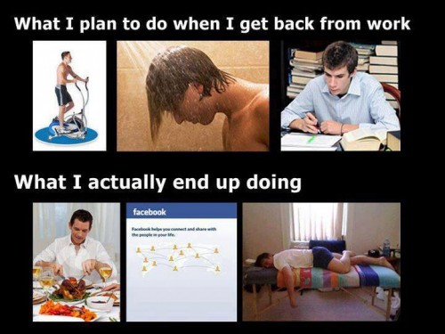 What I plan to do when I get back from work - What I actually end up doing