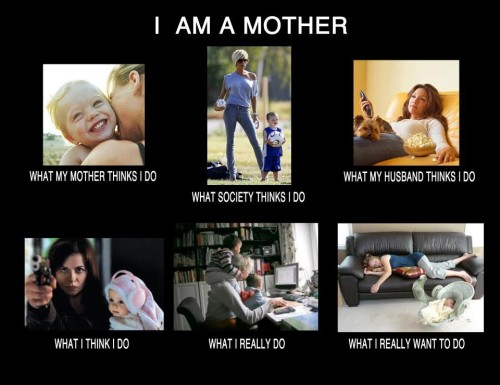 Mom - What my friends think I do what I actually do - I am a mother