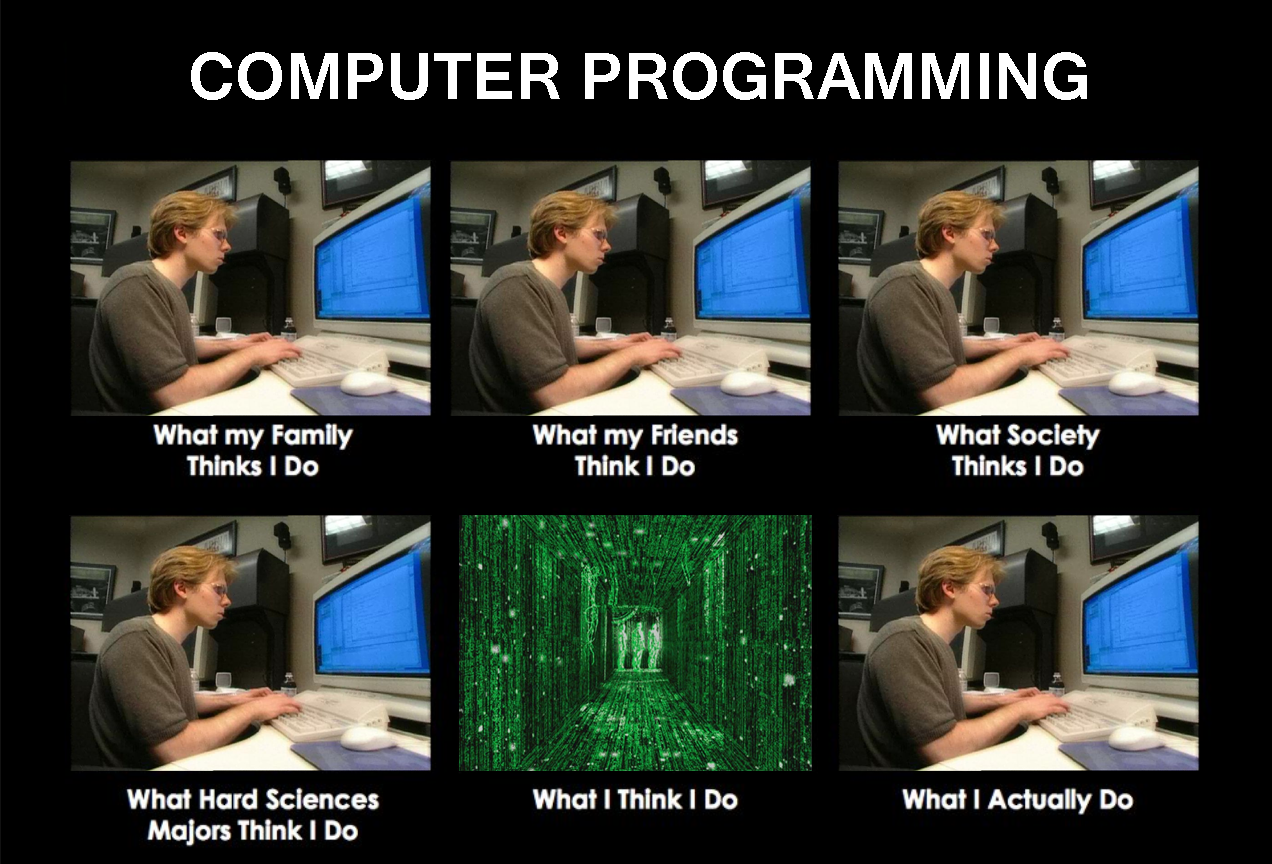 What my friends think I do - what I actually do - Computer Programming