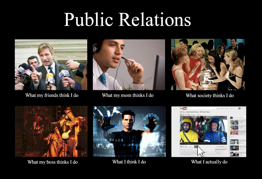 What my friends think I do what I actually do - Public Relations