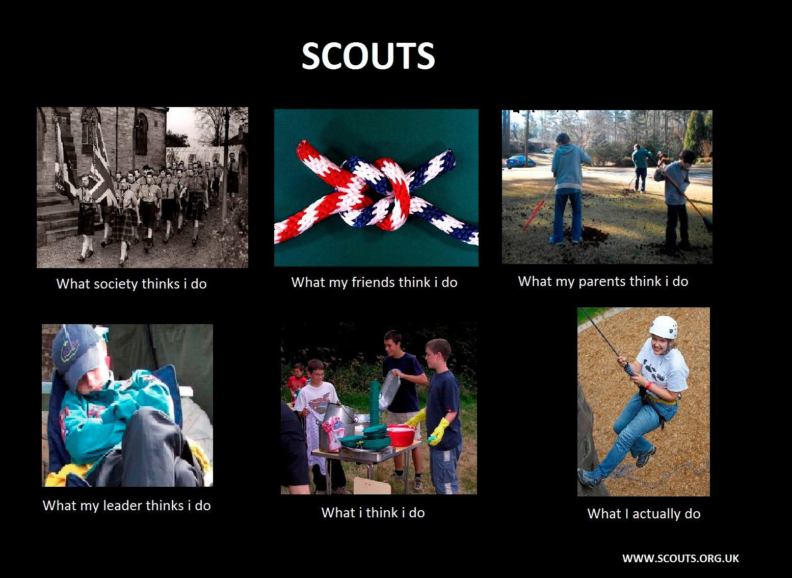 What my friends think I do what I actually do - Scouts